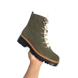 NEW! Marc Fisher Olive Fur Winter Lace Up Bootie 6